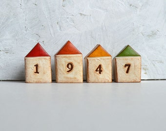 Housewarming, new house gift  ... FOUR handmade number houses, custom made to order, with your house number