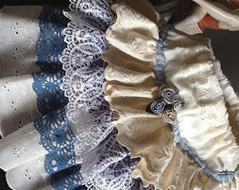 Sample Sale. Summer pretty Iris Blue and white Vintage Lace ruffled Skirt  One of a kInd size 18 month