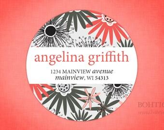 Custom Return Address Sticker Labels--Pink and Grey Floral