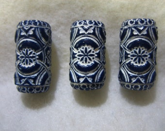Dread Beads Midnight Blue  Embossed Dreadlock  Beads  Set of 3   You Choose Hole Size