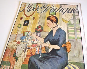 Vintage French Magazine Mode Pratique June 1914 Edwardian Fashion Sewing and Knitting Antique