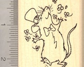 Celebrating St. Patrick's Day Rat Rubber Stamp H12808 Wood Mounted