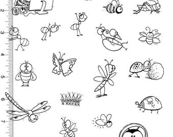 Plate 108 Full Sheet of Bug Rubber Stamp Dies, Bee, Ant, Lady bug, Butterfly, Bed Bugs, Dung Beetle, Grasshopper