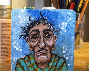 Hand Painted Wood Block Art - Giovanni (Grumpy Old Men)