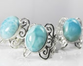 Larimar Statement Ring - Unique Blue Larimar Jewelry - Artisan Wave Sterling Silver Ring - Vintage Inspired Filigree - Turquoise Aqua Blue