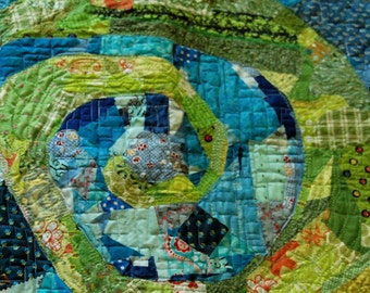 Chameleon Lost  - Abstract Fabric Art Quilt
