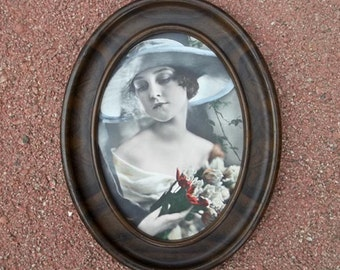 Antique Faux Woodgrain Oval Tin Frame...1910s...with Hand Tinted Portrait of Young Woman Holding Flowers...So Pretty