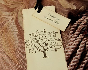 Wedding Wish Tags -  Elegant - Hand stamped - Personalized - Tree