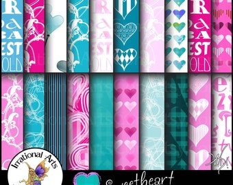 Sweetheart Pink & Teal set 1 - Digital Scrapbooking Papers - 20 jpg files 300dpi Valentines Day Hearts Galore {Instant Download}