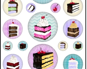 "INSTANT DOWNLoAD Life is a Piece of CAKE 1"", 2"" & 3"" Bottlecap Digital Collage Sheets with all Original designs"