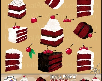 Life is a Piece of Cake Set 1 - Red Velvet with cherries digital clipart graphics {Instant Download}