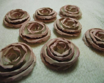 Scrapbook Flowers...8 Piece Set of Very Pretty Shabby Chic Beige Scrapbook Paper Flower Rolled Roses