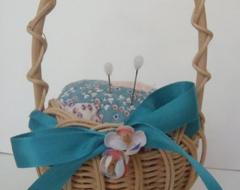 Vintage Quilt Pin Cushion Upcycled with Wicker Basket
