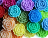 100pc you choose mini rose 12mm resin flower cabochons, 23 colors, great for making hairpins, earrings and rings