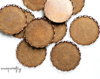 20pc 20mm cabochon setting blanks / antique brass lace edge bezel blanks / cameo setting / brass ox round blank / 20mm round cab setting