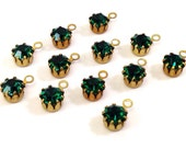 12 Vintage Swarovski 24ss Emerald 1 Loop Article 648 Crystal Charms, Gold Plated 1 Loop Drops, Glass Stones, 5.27-5.4mm