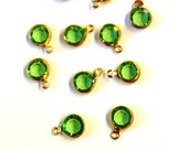 12 Vintage Swarovski 4mm Gold Plated Peridot Crystals, 1 Loop Drops, Channel Set Glass Stones