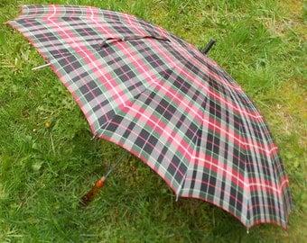 VINTAGE PLAID UMBRELLA, mid century, lucite handle, rayon, rain gear, collectible, functional