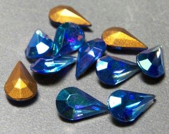 Vintage Czech Sapphire AB 13x8mm Faceted Pear Teardrop Glass Stones (8)