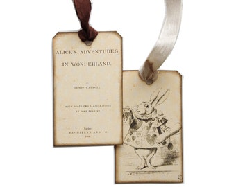 Alice In Wonderland Tags, Illustrations, Parchment and Black, Alice, Mad Hatter