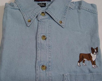 BOSTON TERRIER Dog Embroidered Small to 4XL Long Sleeve Light Blue Denim Shirt - Price Embroidery Apparel