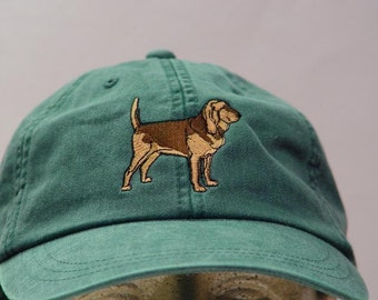 BLOODHOUND DOG HAT - Embroidered Men Women Cap - Price Embroidery Apparel - 24 Color Caps Available