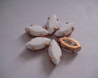 Lot of 6 15x7mm Chalk White Navette Shaped Swarovski Rhinestones in Brass Copper Colored Sew on Settings