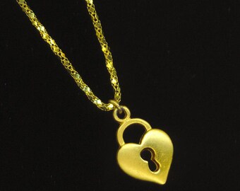 Vintage Golden Lock Pendant . Gold Heart with Keyhole . 18 K Gold Plated Chain . Lock Necklace - A Key to his Heart by enchantedbeas on Etsy