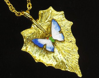 Blue Butterfly Leaf Pendant . Enamel Moss Butterfly. White& Blue Enameled Butterfly. Golden Leaf - Spring Blues by enchantedbeas on Etsy