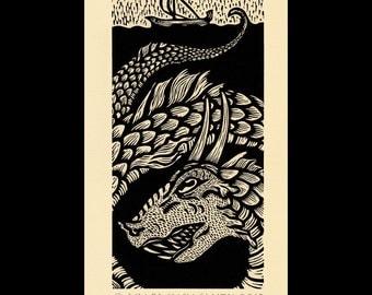 Leviathan woodcut limited edition Arcanum Bestiarum bestiary print