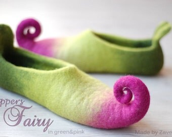 Fairy shoes/ felted home slippers, women sizes MADE TO ORDER