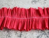 Cherry Red Crepe Paper Ruffle 2 inch Handmade Valentine Crepe Paper Trim Red Valentine Trim Ruffled Garland Decoration