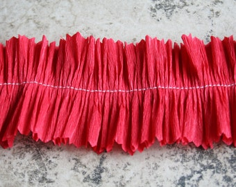 Cherry Red Crepe Paper Ruffle 2 inch Handmade Valentine Crepe Paper Trim Red Valentine Trim Ruffled Garland Decoration