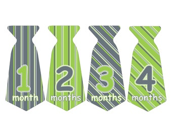 12 Pre-cut Monthly Baby Waterproof Glossy Stickers - Neck Tie Shape - Design T008-06
