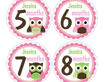12 Personalized Monthly Baby Milestone Waterproof Glossy Stickers - Just Born - Newborn - Weekly stickers available - Design M032-01