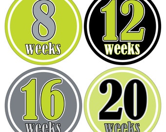 12 Weekly Pregnancy Mama-to-be Maternity Waterproof Glossy Stickers  - Monthly stickers available - Design W012-01