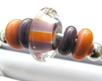 Coral Orange Purple Colorful Glass Modern Bead Silver Bangle Bracelet, Jewelry For Young Adult Tween Girl, Layering Stacking Swirl Bracelet