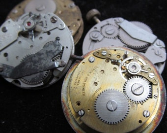 Vintage Antique Industrial Looking Watch Movements Steampunk  ID 80