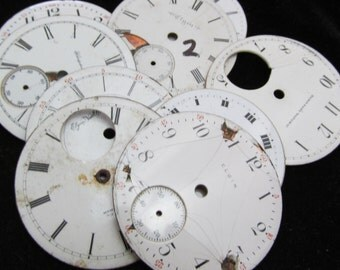 Distressed Shabby Chic  Watch Dials Steampunk Faces Enamel Porcelain BF 42