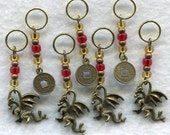 Year of The Dragon Chinese Zodiac Lucky Money Chinese New Year Stitch Markers Set of 7 /SM93