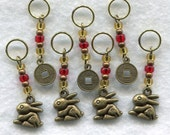 Year of The Rabbit Knitting Stitch Markers Chinese Zodiac Lucky Money Chinese New Year  Set of 7 /SM89