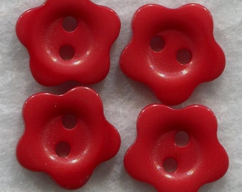 Dark Red  Buttons Red Acrylic Flower Buttons 15mm (5/8 inch) Set of 4/BT169