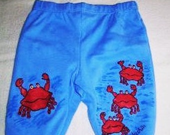 Baby Crab Pants, Red Crab Baby Pants, Crabby Baby Pants, Beach Baby Pants