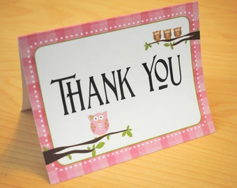 DIGITAL Adorable Owl Thank You Folded Note Card in Pink Plaid with Blue and Green Acents
