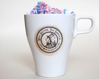 INSTANT DOWNLOAD (Digital) Cup, Drink, Favor, Decoration Sticker for Mad Hatter in Wonderland Tea Party, Antique Background