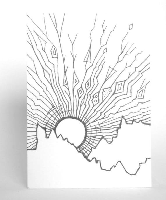 Line Drawing Sunrise : Aceo original drawing geometric sunrise