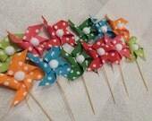 For Lynette - Polka Dot Pinwheel Cupcake Flags - 12 Fabric  Cake Toppers