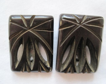 Vintage Carved Bakelite Dress Clips - 1930s