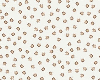 Sew Cherry by Riley Blake, Daisies in Brown - 1.75 Yards- Reduced - Last One