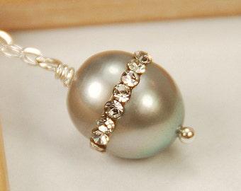 Gray Grey Rhinestone Pearl Necklace, Pearl Drop Necklace, Bridesmaid Necklace, Single Pearl Necklace, Wedding Necklace, Sterling Silver